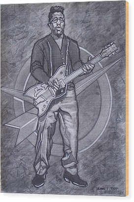 Bo Diddley - Have Guitar Will Travel Wood Print by Sean Connolly