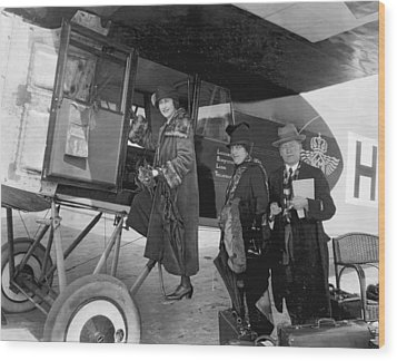 Boarding Fokker Airplane Wood Print by Underwood Archives