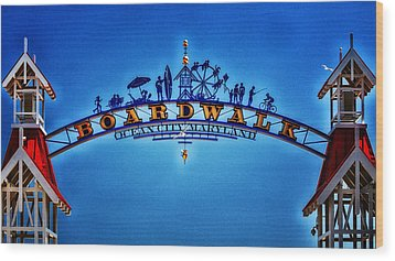 Boardwalk Arch In Ocean City Wood Print by Bill Swartwout