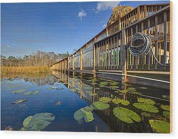 Boardwalk At Grassy Waters Wood Print by Debra and Dave Vanderlaan