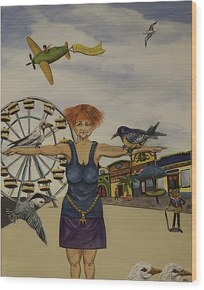 Boardwalk Birdwoman Wood Print by Susan Culver
