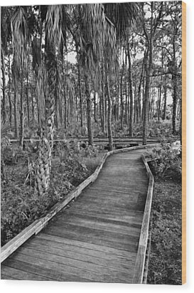 Boardwalk In Black And White 2 Wood Print
