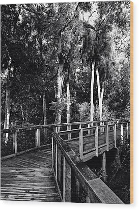 Boardwalk In Black And White Wood Print
