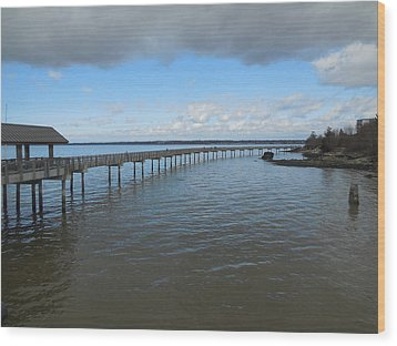 Boardwalk In Blue Wood Print by Karen Molenaar Terrell