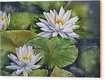 Boardwalk Lilies Wood Print by Mary McCullah