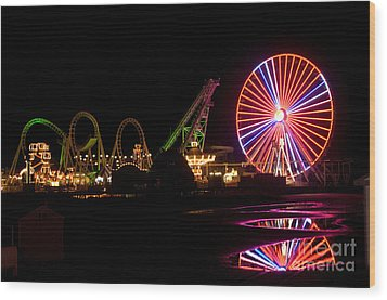 Wood Print featuring the photograph Boardwalk Night by Greg Graham
