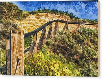 Wood Print featuring the painting Boardwalk Steps by Anthony Citro