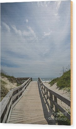 Boardwalk To The Beach Wood Print by Kay Pickens