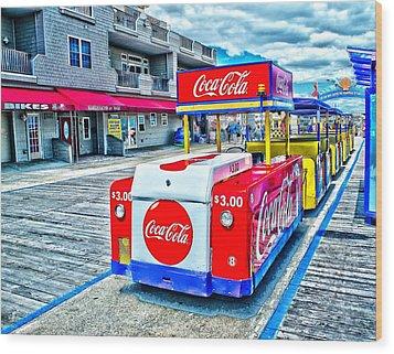 Boardwalk Tram  Wood Print by Nick Zelinsky