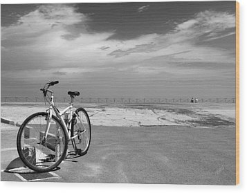 Boardwalk View With Bike In Antibes France Black And White Wood Print by Ben and Raisa Gertsberg