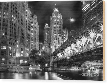 Boat Along The Chicago River Wood Print