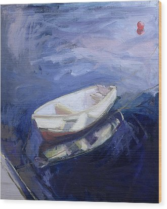 Boat And Buoy Wood Print by Sue Jamieson