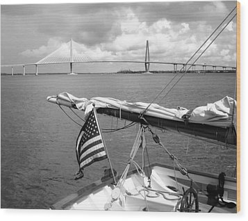 Wood Print featuring the photograph Boat And Charleston Bridge by Ellen Tully