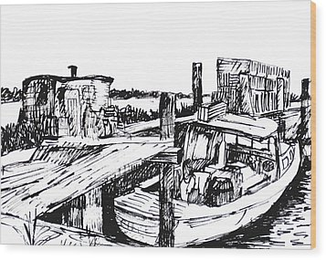 Boat And Lobster Traps Wood Print
