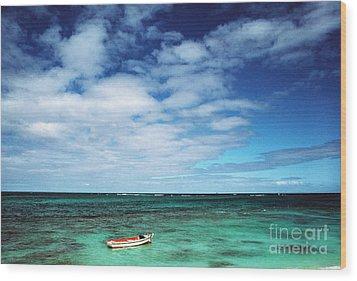 Boat And Sea Wood Print by Thomas R Fletcher