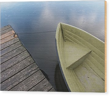 Boat And Wooden Pier - Quiet And Peaceful Scenery Wood Print by Matthias Hauser