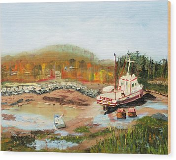 Wood Print featuring the painting Boat At Bic Quebec by Michael Daniels