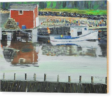 Wood Print featuring the painting Boat At Louisburg Ns by Michael Daniels