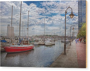 Boat - Baltimore Md - One Fine Day In Baltimore  Wood Print by Mike Savad