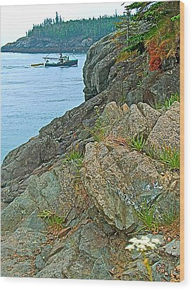 Boat By East Quoddy Bay On Campobello Island-nb Wood Print