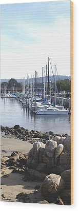 Boat Dock And Big Rocks Right Wood Print by Barbara Snyder