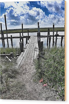Boat Dock With Gulls Wood Print by Patricia Greer