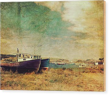 Boat Dreams On A Hill Wood Print by Tracy Munson