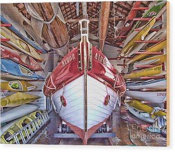Boat Frenzy Wood Print by Pauline Flesseman