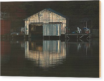 Wood Print featuring the photograph Boat House Effects by Tammy Schneider