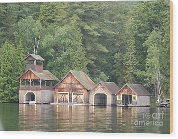 Boat House Wood Print by George Mount