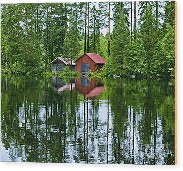 Boat House On Swedish Lake Wood Print by Micah May