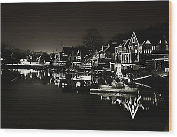 Boat House Row - In The Dark Of Night Wood Print by Bill Cannon
