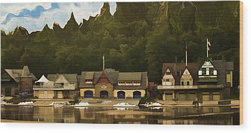 Boat House Row Wood Print by Trish Tritz