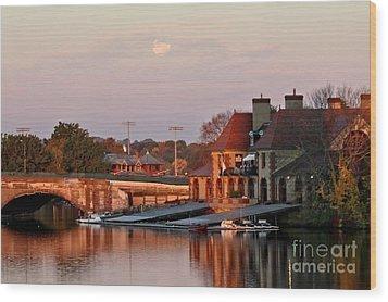 Boat Houses At Dawn Wood Print