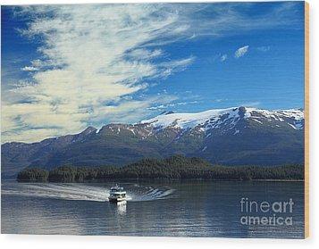 Boat In Alaska Fjord Wood Print