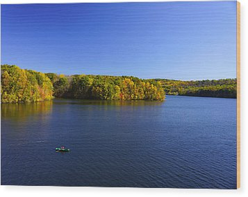 Wood Print featuring the photograph Boat In Croton Reservoir - Ny by Rafael Quirindongo