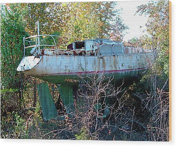 Wood Print featuring the photograph Boat In Dry Dock Forest by Larry Bishop