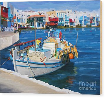 Boat In Greece Wood Print
