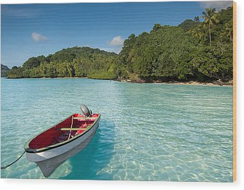 Boat In Lagoon Wood Print
