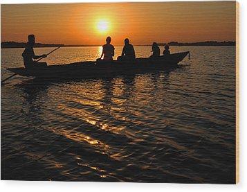 Boat In Sunset On Chilika Lake India Wood Print