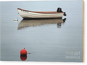 Boat In The Bay Wood Print by John Rizzuto