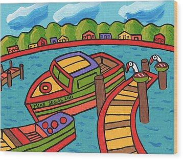 Boat In The Bayou - Cedar Key Wood Print by Mike Segal