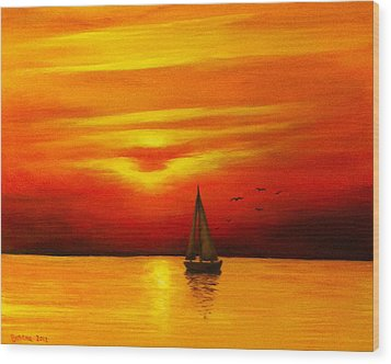 Wood Print featuring the painting Boat In The Sunset by Bozena Zajaczkowska