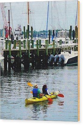 Boat - Kayaking In Newport Ri Wood Print by Susan Savad