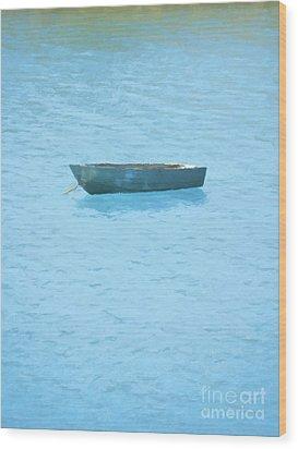 Boat On Blue Lake Wood Print by Pixel Chimp