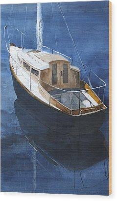Boat On Blue Wood Print by Susan Crossman Buscho