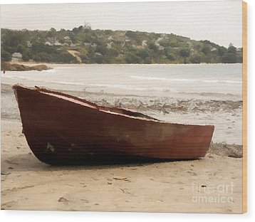 Boat On Shore 02 Wood Print by Pixel Chimp