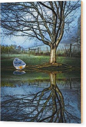 Boat On The Lake Wood Print by Debra and Dave Vanderlaan