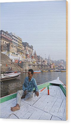 Boat On The River Ganges At Varanasi In India Wood Print by Robert Preston