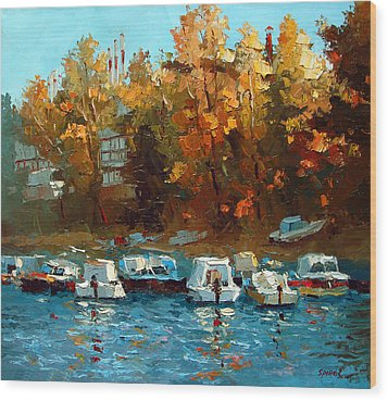Wood Print featuring the painting Boat On The Waterfront by Dmitry Spiros